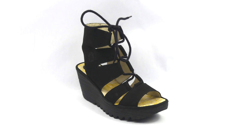 FLY London Leather Ghillie Lace Up Wedges Yoll Black - A