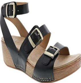 Dansko Leather Ankle Strap Wedges Lou Black - A