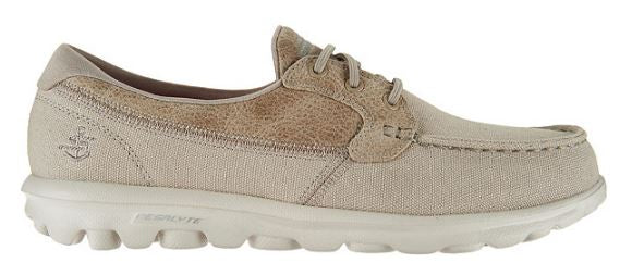 Skechers On-the-GO Boat Shoes with Goga Mat Seaside Taupe - A