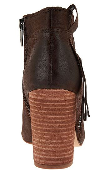 Marc Fisher Suede Ankle Boots w/ Fringe Detail Novice Brown Leather - A