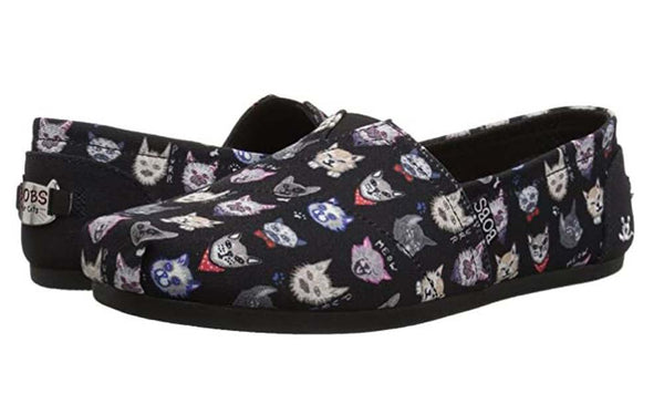Skechers BOBS Slip On Shoes Dapper Cats Black - NEW