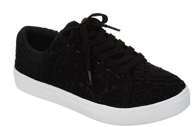 Isaac Mizrahi Live! Lace-Up Floral Lace Sneakers Black - NEW