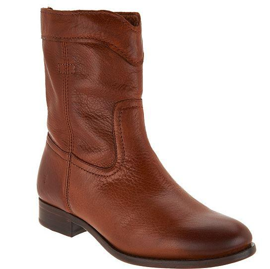 Frye Leather Pull On Ankle Boots Cara Roper Short Cognac