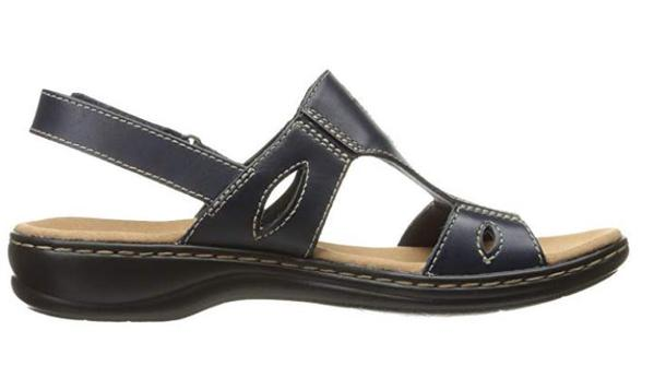 Clarks Collection Leather Sandals Leisa Lakelyn Black - NEW