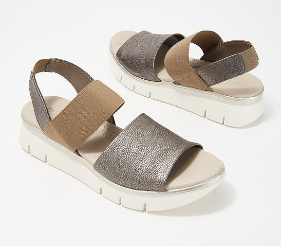 The Flexx Leather Back-Strap Sandals Cushy Pewter - NEW