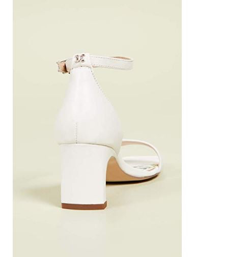 Sam Edelman Leather Ankle Strap Heeled Sandals Holmes White  - NEW