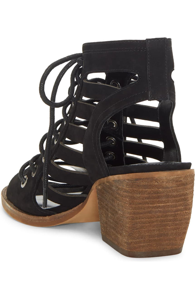 Vince Camuto Nubuck Lace-Up Heeled Sandals Chesten Black - A