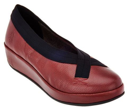 FLY London Leather Slip-on Shoes Bobi Red - A
