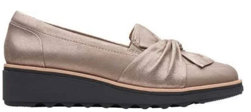 Clarks Suede Slip-On Loafer with Knotted Detail Sharon Dasher Pewter - A