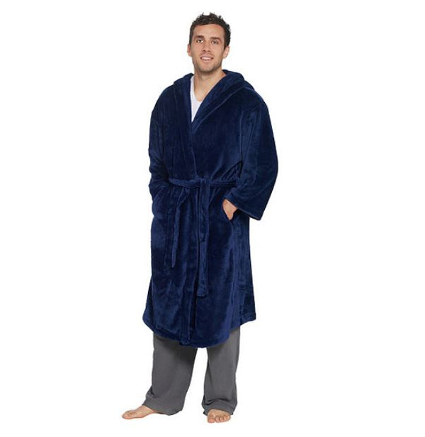 Dennis Basso Men's Plush Robe Navy - A