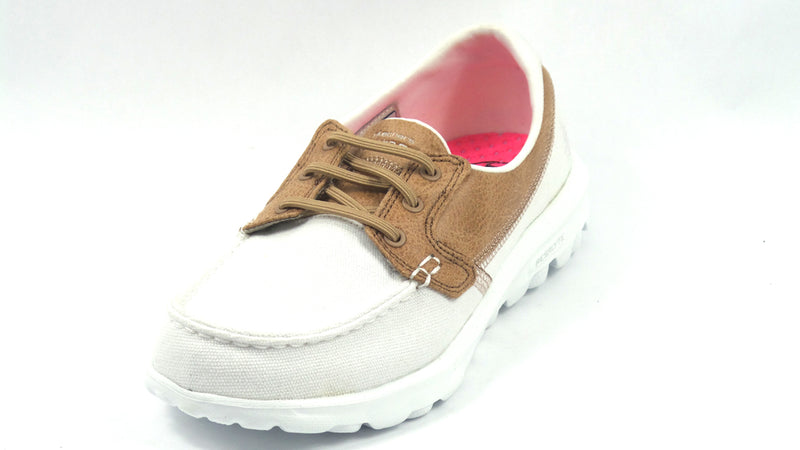 Skechers On The GO Boat Shoes with Goga Mat Seaside White - NEW