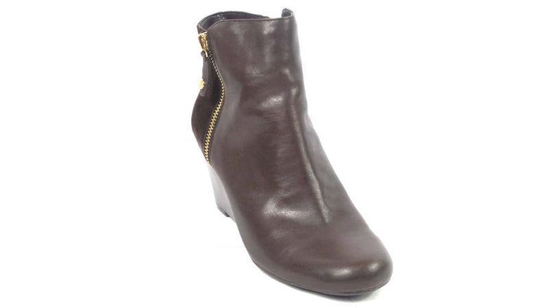 Isaac Mizrahi Live! Leather & Suede Wedge Ankle Boots Coffee Bean - NEW