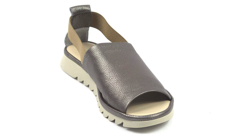 The Flexx Leather Peep Toe Sandals Shoreline Pewter - NEW