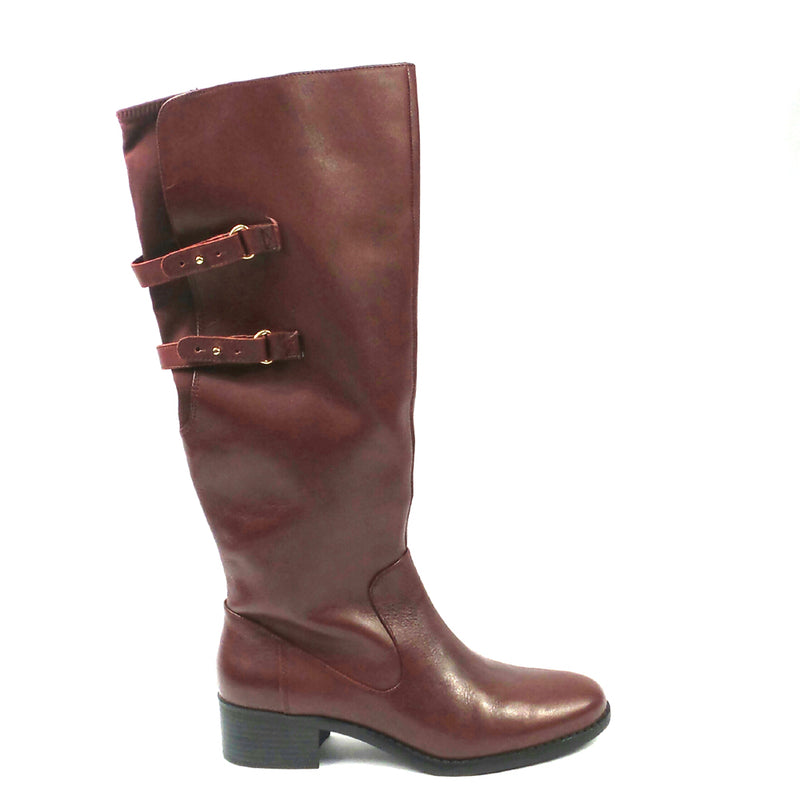 Isaac Mizrahi Live! Riding Boots with Straps Medium Calf Mulberry - NEW