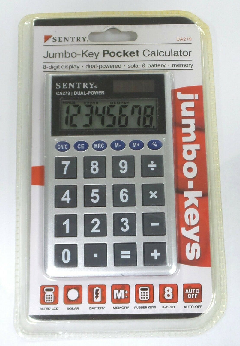 LOT OF 2 Sentry CA279 Jumbo-Key Pocket Calculator Silver - NEW