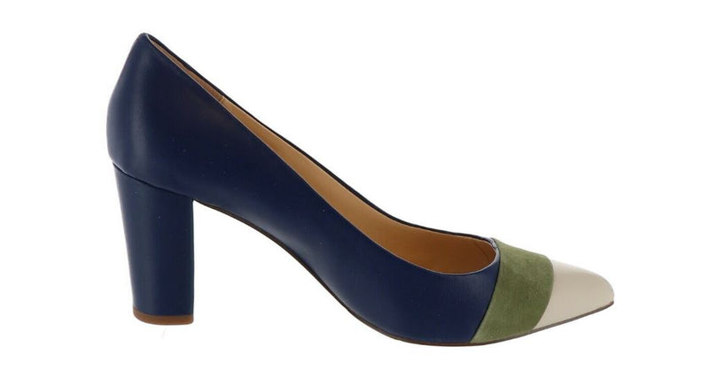 C. Wonder Leather and Suede Pumps with Toe Detail Jillian Navy - NEW