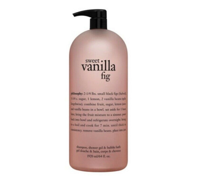 Philosophy Sweet Vanilla Fig Shampoo, Bubble Bath and Shower Gel 64oz. - NEW
