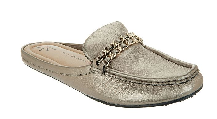 Isaac Mizrahi Leather Mule Moccasin with Chain Hardware Graphite - NEW