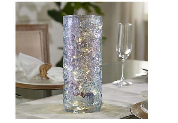 "11"" Illuminated Iridescent Textured Glass Hurricane by Valerie Blue - A"