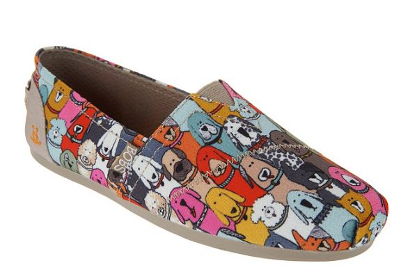 Skechers BOBS Dog Wag Slip-On Shoes Party Brown Multi - NEW