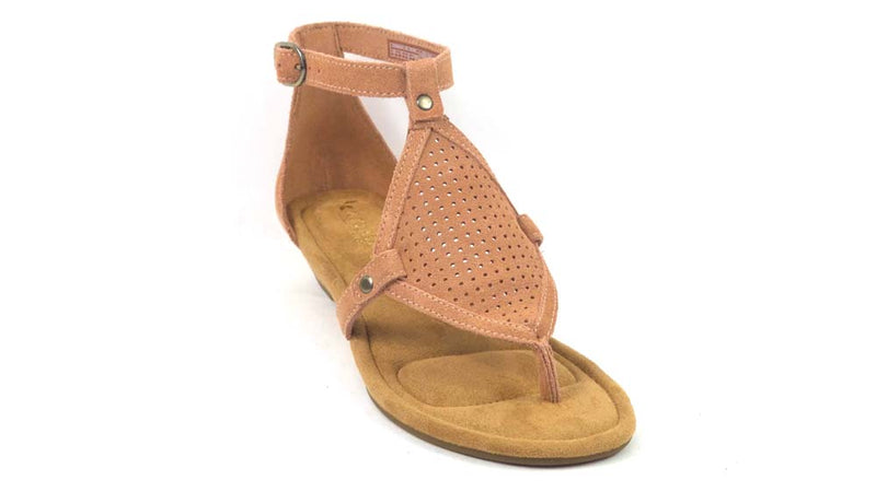 Koolaburra Perforated Suede Demi-Wedges Briona Cafe Creme - NEW