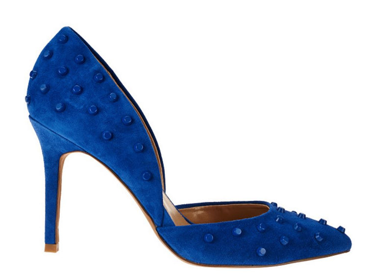 G.I.L.I. Leather Studded Pointed Toe Two-piece Pumps Jilee Royal - NEW