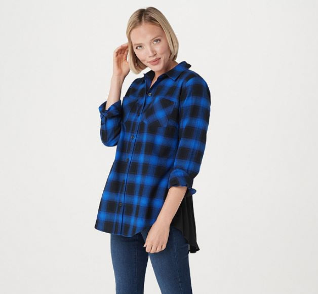 Belle by Kim Gravel Ombre Plaid Woven Shirt Indigo/Black - NEW