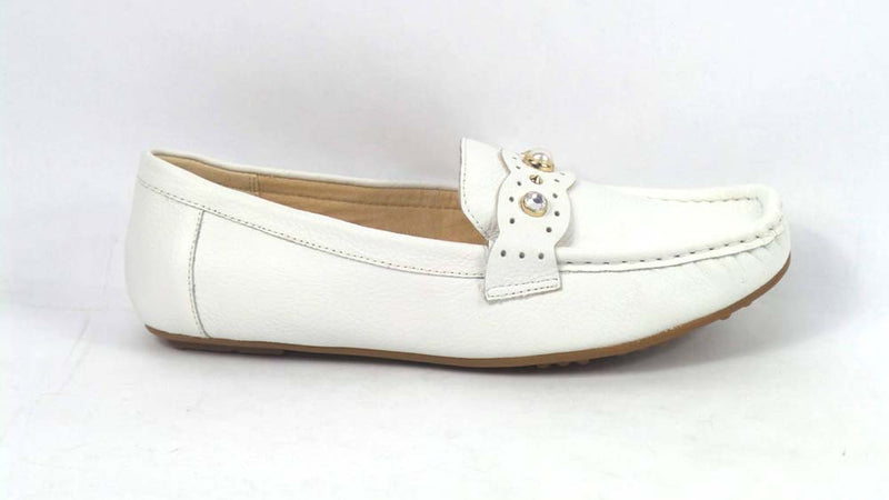 Isaac Mizrahi Live! Leather Moccasins with Faux Pearls Bright White - NEW