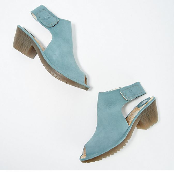FLY London Leather Peep-Toe Heeled Sandals Wone Pale Blue - NEW