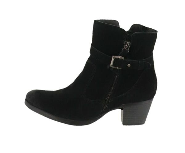 Earth Origins Suede Water Repellent Ankle Boots Tori Black  - NEW