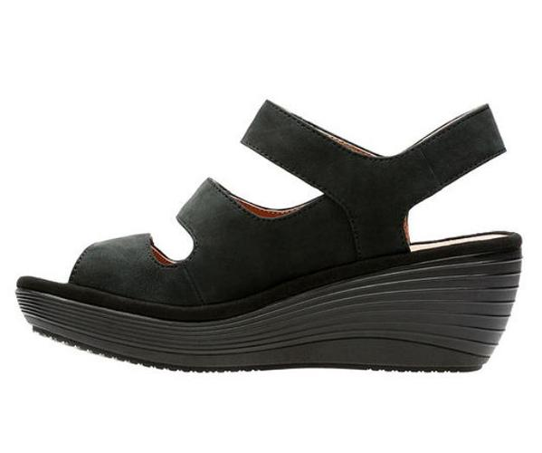 Clarks Collection Nubuck Wedge Sandals Reedly Juno Black - A
