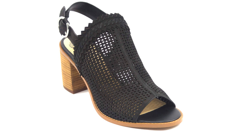 Vince Camuto Perforated Leather Heeled Sandals Tricinda Black - NEW