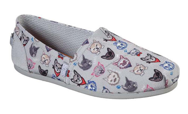 Skechers BOBS Slip On Shoes Dapper Cats Gray - NEW
