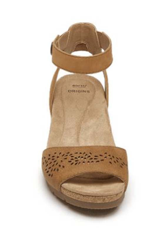 Earth Origins Leather Wedges with Ankle Strap Kendra Krystal Suntan - NEW