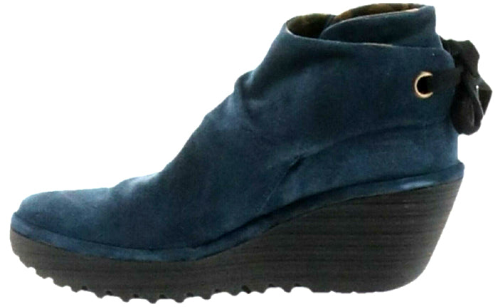 FLY London Suede Ruched Ankle Boots with Tie Detail Yebi Ocean - NEW
