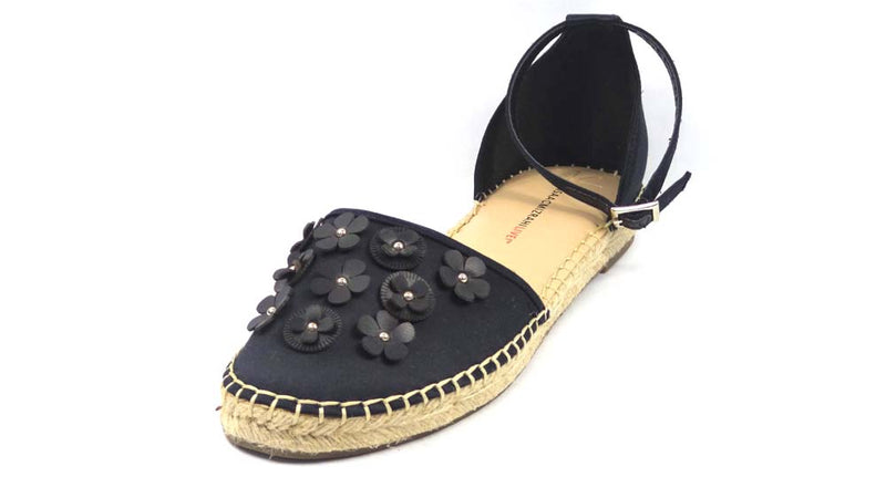 Isaac Mizrahi Live! Floral Applique Satin Espadrilles Black - NEW