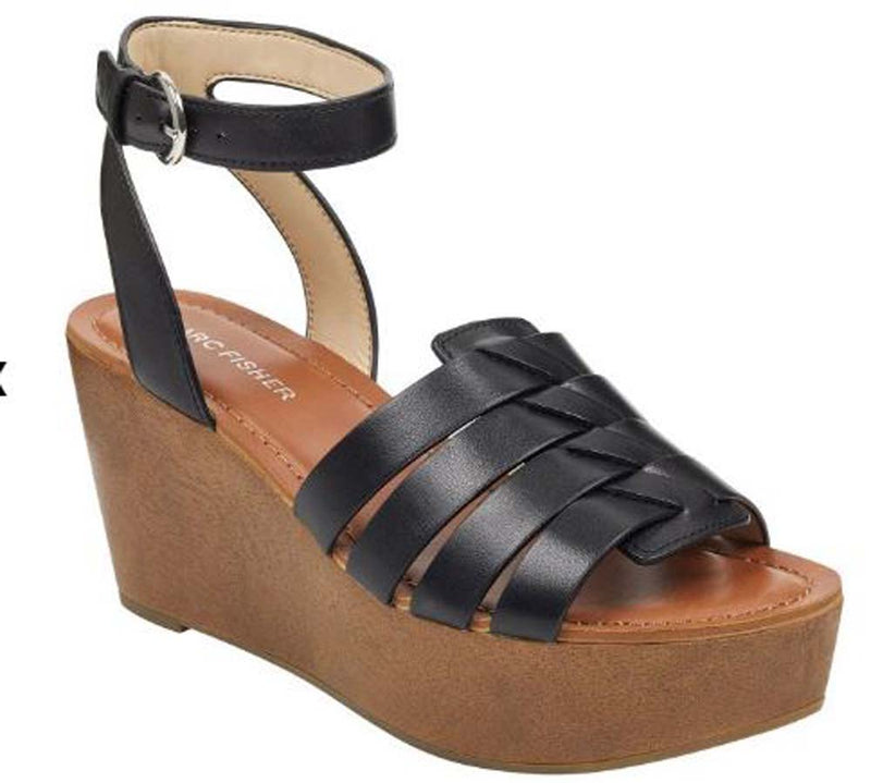 Marc Fisher Woven Leather Wedges with Ankle Strap Pastya Black - NEW