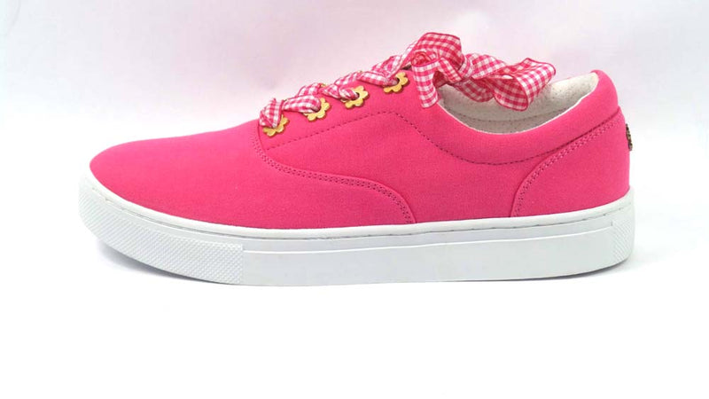 Isaac Mizrahi Live! Canvas Sneakers with Gingham Laces Pink Ruby - NEW