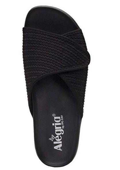 Alegria Dream Fit Adjustable Slide Sandals Airie Black - NEW