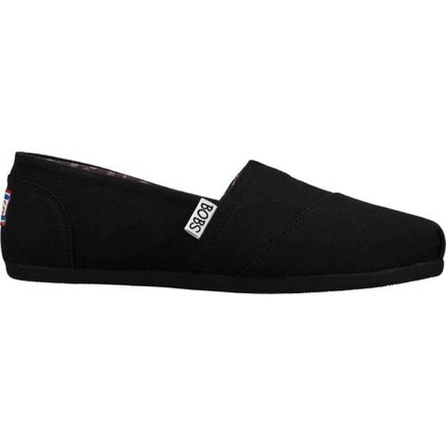 Skechers BOBs Canvas Slip-On Shoes Plush Peace & Love Black - NEW
