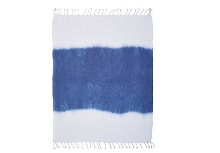 Ox Bay Trading and Supply Co. Shibori Slab Throw White/Blue - NEW