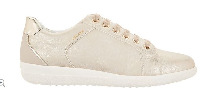 GEOX Perforated Leather Lace-Up Sneakers Nihal Taupe - NEW