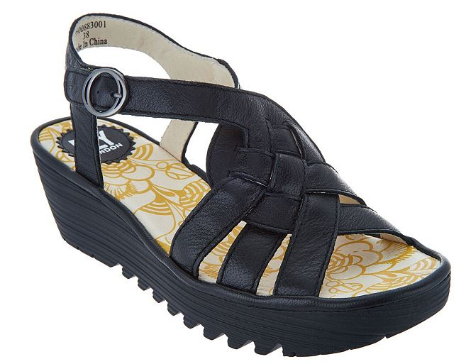 FLY London Leather Braided Front Wedge Sandals Rini Black - NEW
