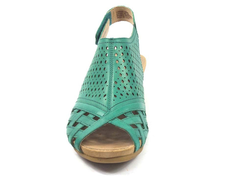 Earth Leather Perforated Wedge Sandals Pisa Galli Teal Green - NEW