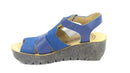 FLY London Leather Multi Strap Wedge Sandals Yuni Blue - NEW