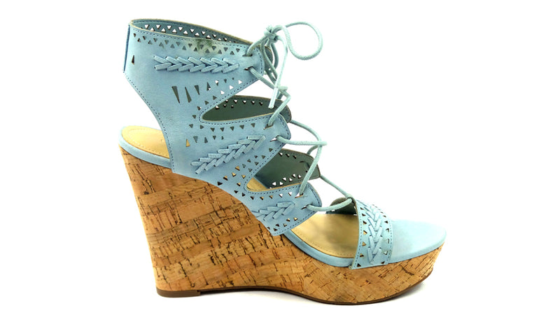 Marc Fisher Perforated Suede Lace-up Wedges Hosana Light Blue - A