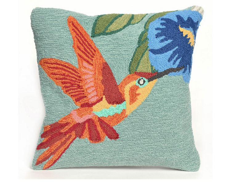 "Liora Manne Frontporch Hummingbird In/Out Pillow Sky 18"" x 18"" - NEW"