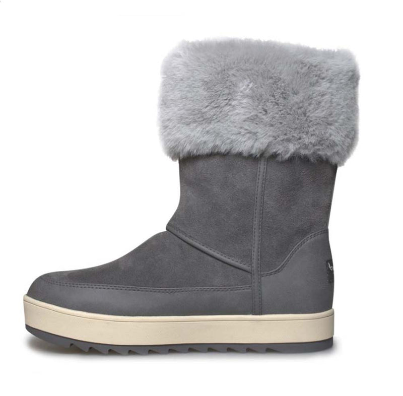 Koolaburra by UGG Suede Faux Fur Tall Boots Tynlee Stone Grey - NEW