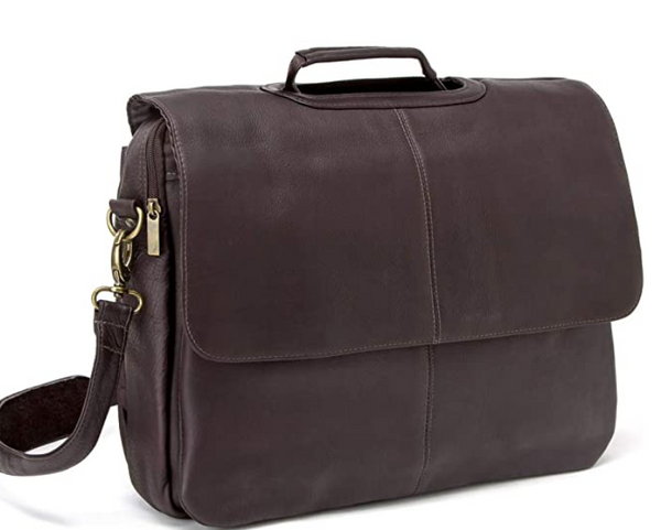 Le Donne Leather Flap-Over Computer Briefcase Cafe - NEW