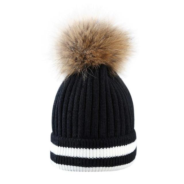 3567700a92c FEITONG Outdoor Winter Hat Women Beanies Unisex pom pom hat Hair Ball  Stripe Knitted Hat Mink